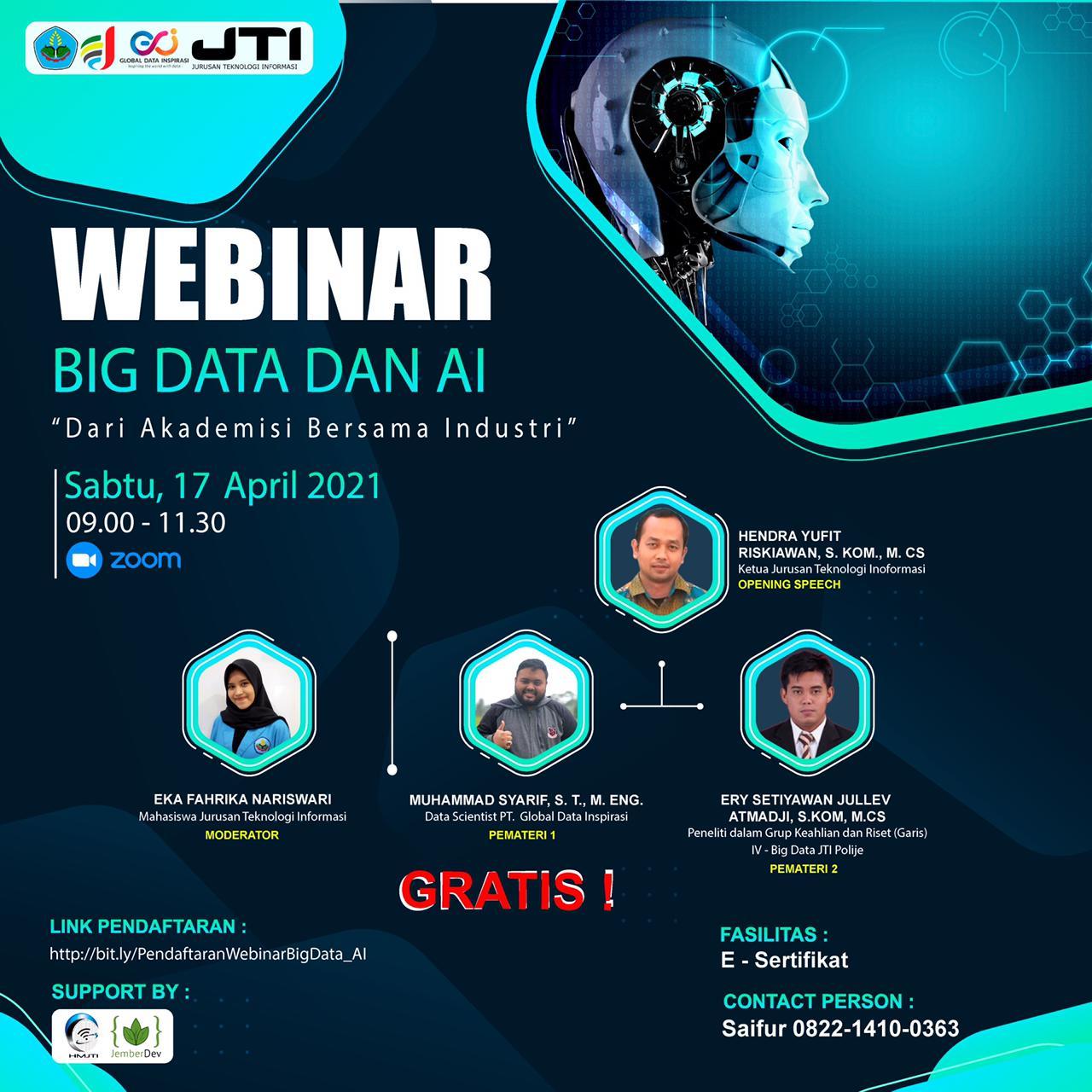 Berkolaborasi dengan Datains ID, HMJTI Polije sukses selenggarakan Webinar tentang Big Data dan AI